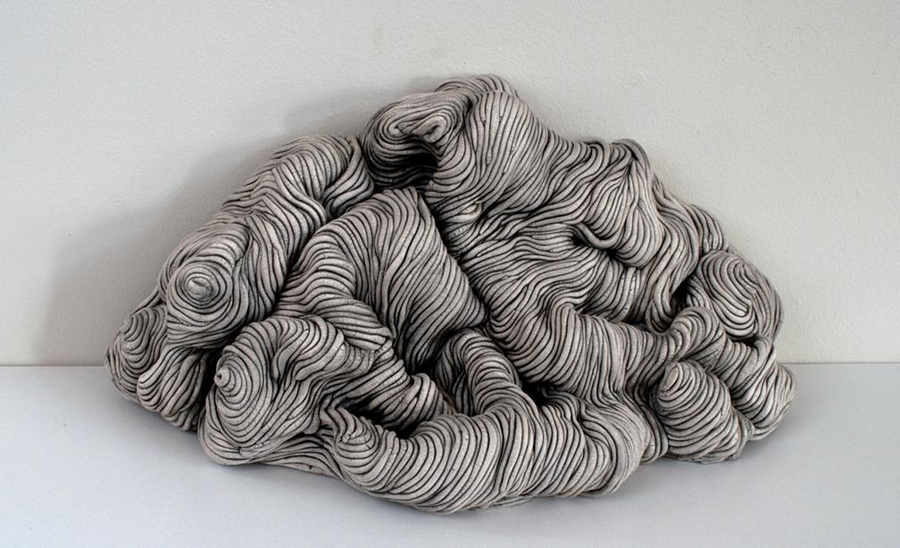 Black and white coil built ceramic clay sculpture made by Erik Hubert Gellert 3-d printed 3d print robot handmade
