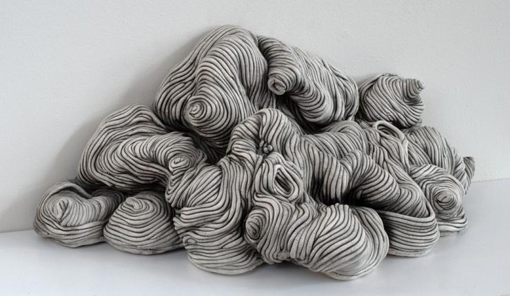 Black and white coil built ceramic clay sculpture made by Erik Hubert Gellert corner 3-d printed 3d print robot handmade