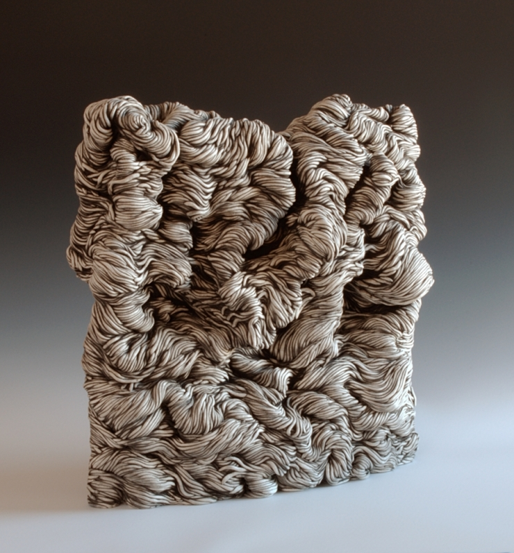 Black and white coil built ceramic clay sculpture made by Erik Hubert Gellert Eric art 3-d printed 3d print robot handmade