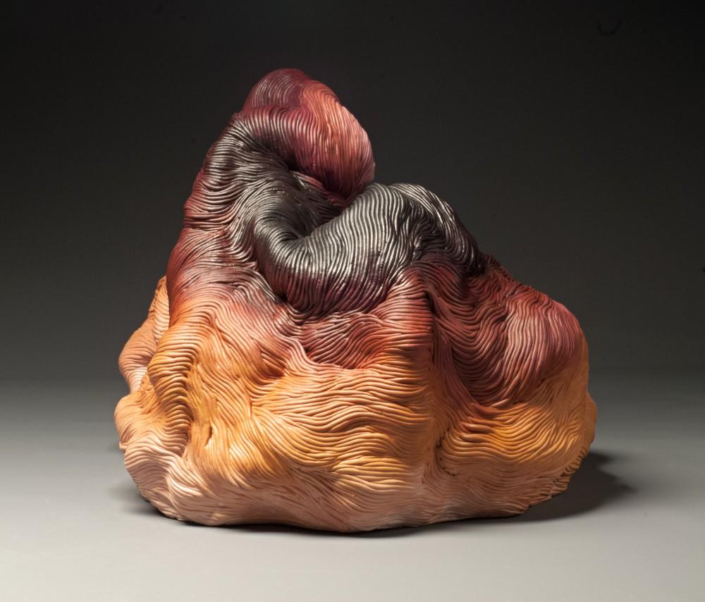 Autumn colors coil built ceramic clay sculpture made by Erik Hubert Gellert Eric art 3-d printed 3d print robot handmade