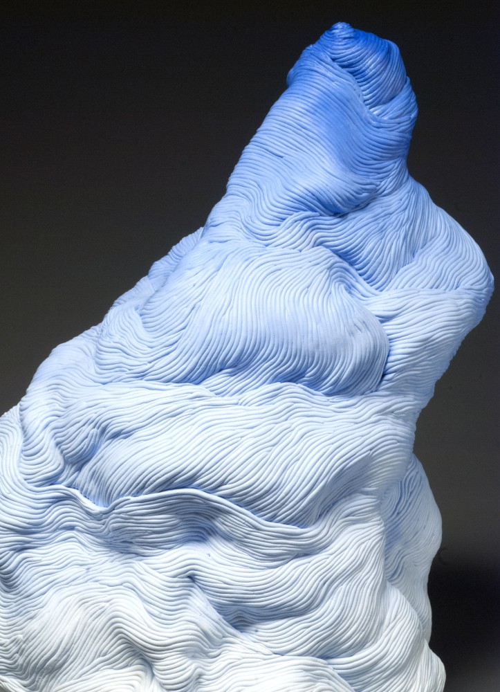 Blue coil built ceramic clay sculpture made by Erik Hubert Gellert Eric art 3-d printed 3d print robot handmade