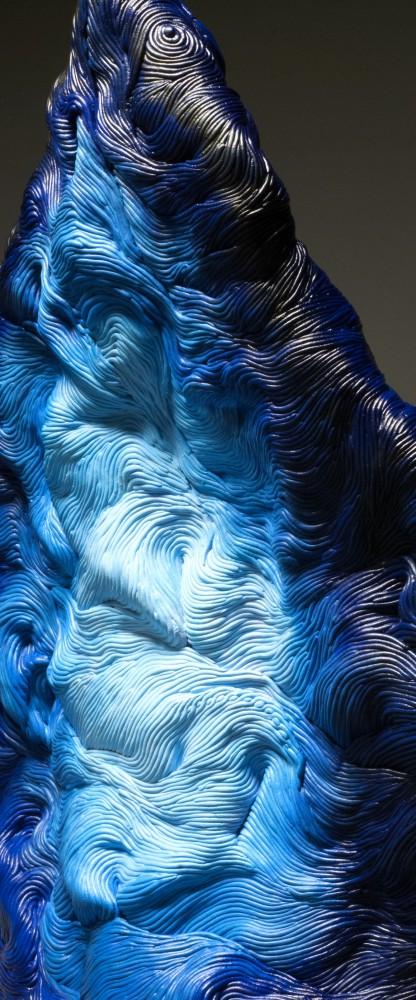 Blue coil built ceramic clay sculpture made by Erik Hubert Gellert Eric art 3-d printed 3d print robot handmade