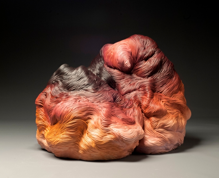 Autumn colors coil built ceramic clay sculpture made by Erik Hubert Gellert Eric art 3-d printed 3d print robot handmade