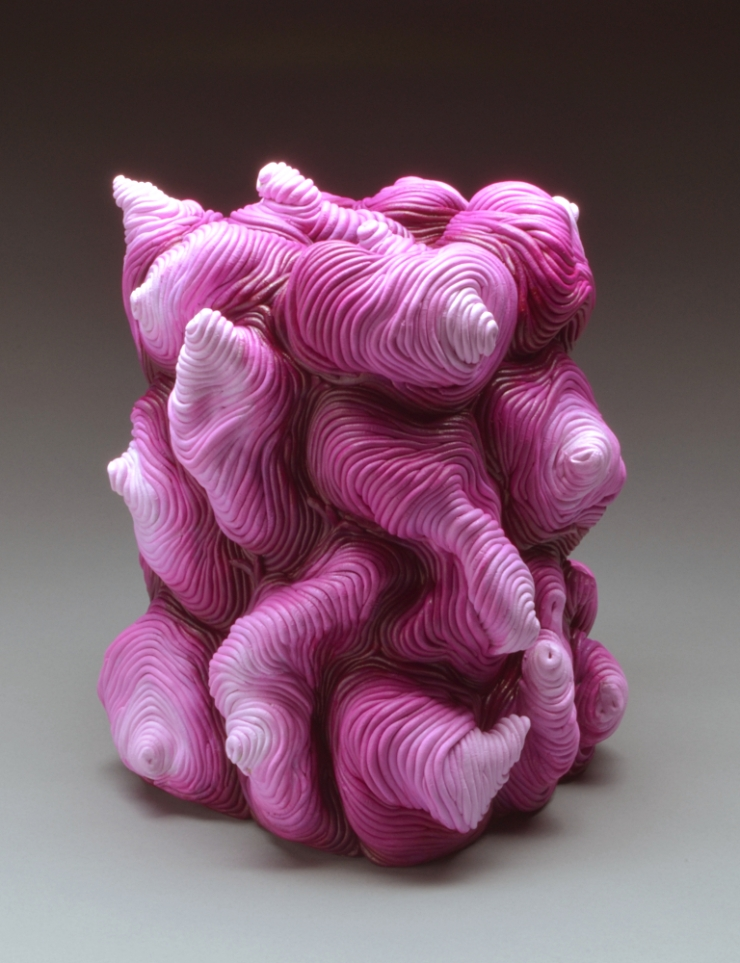 Fuchsia acrylic coil built ceramic clay sculpture made by Erik Hubert Gellert Eric art 3-d printed 3d print robot handmade
