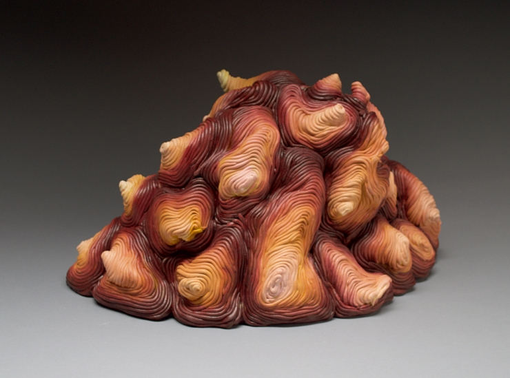 Autumn coil built ceramic clay sculpture made by Erik Hubert Gellert Eric art 3-d printed 3d print robot handmade
