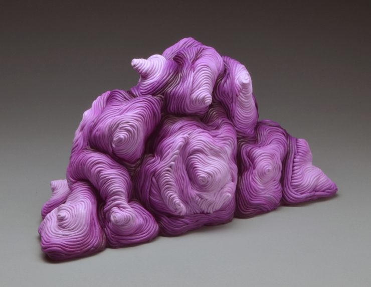 Purple acrylic coil built ceramic clay sculpture made by Erik Hubert Gellert Eric art 3-d printed 3d print robot handmade