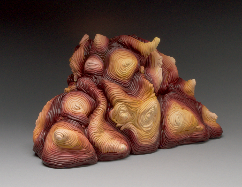 Autumn acrylic coil built ceramic clay sculpture made by Erik Hubert Gellert Eric art 3-d printed 3d print robot handmade