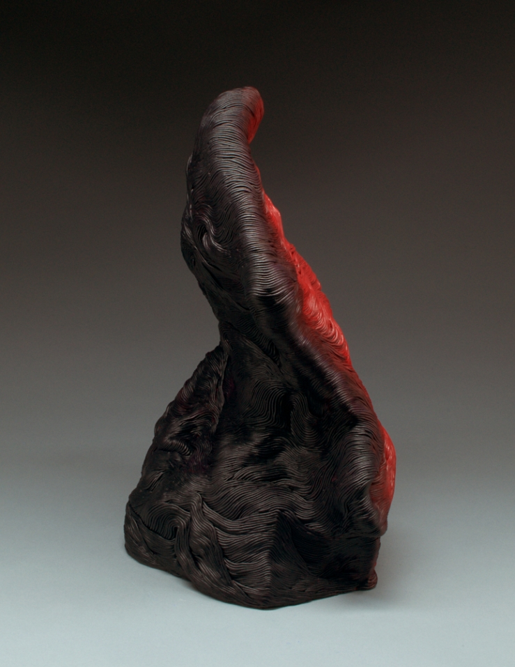 Black and red coil built ceramic clay sculpture made by Erik Hubert Gellert Eric art 3-d printed 3d print robot handmade