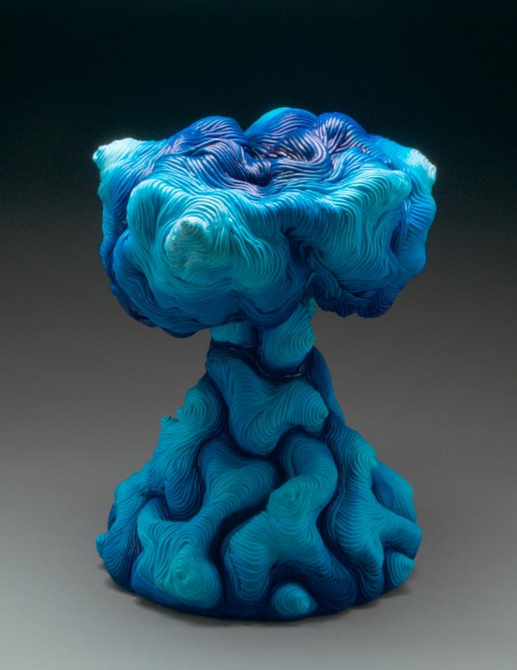 Blue acrylic paint coil built ceramic clay sculpture made by Erik Hubert Gellert Eric art 3-d printed 3d print robot handmade