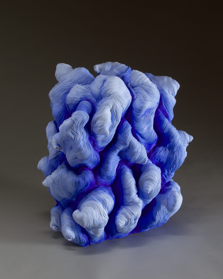 Blue acrylic paint coil built ceramic clay sculpture made by Erik Hubert Gellert Eric art 3-d printed 3d print robot handmade