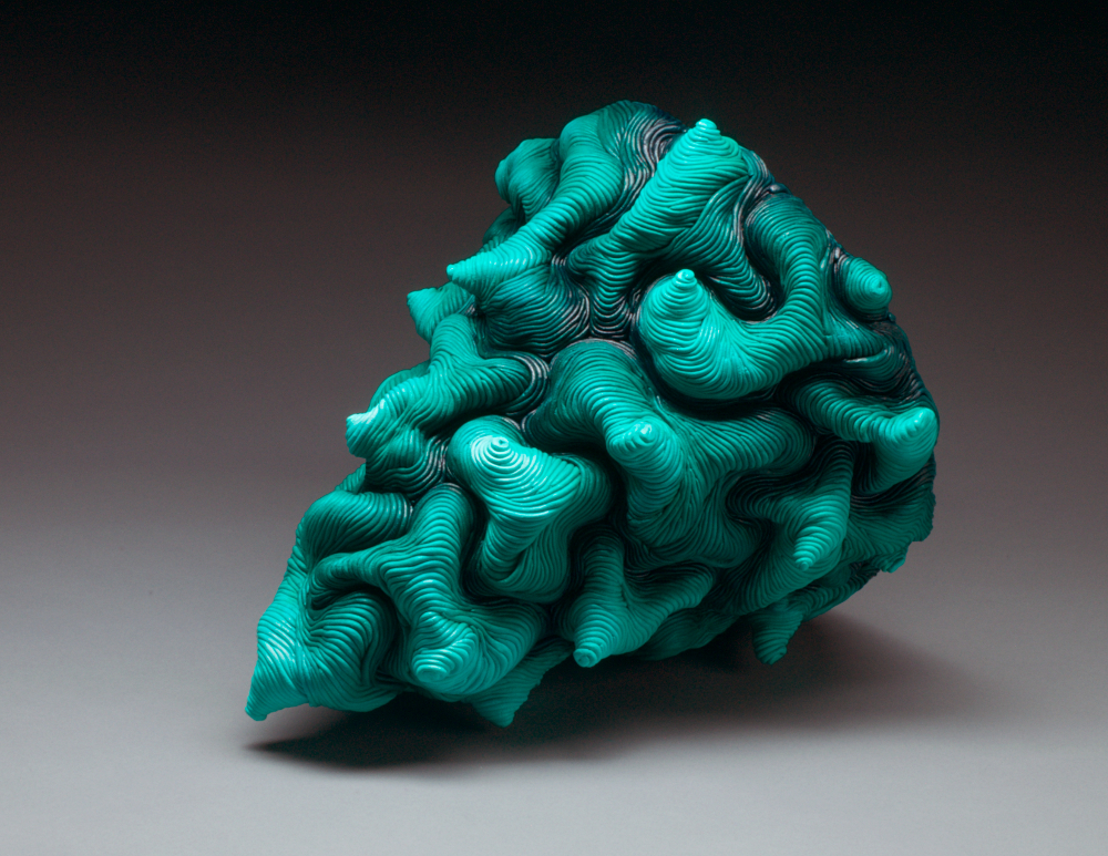 Green acrylic paint coil built ceramic clay sculpture made by Erik Hubert Gellert Eric art 3-d printed 3d print robot handmade
