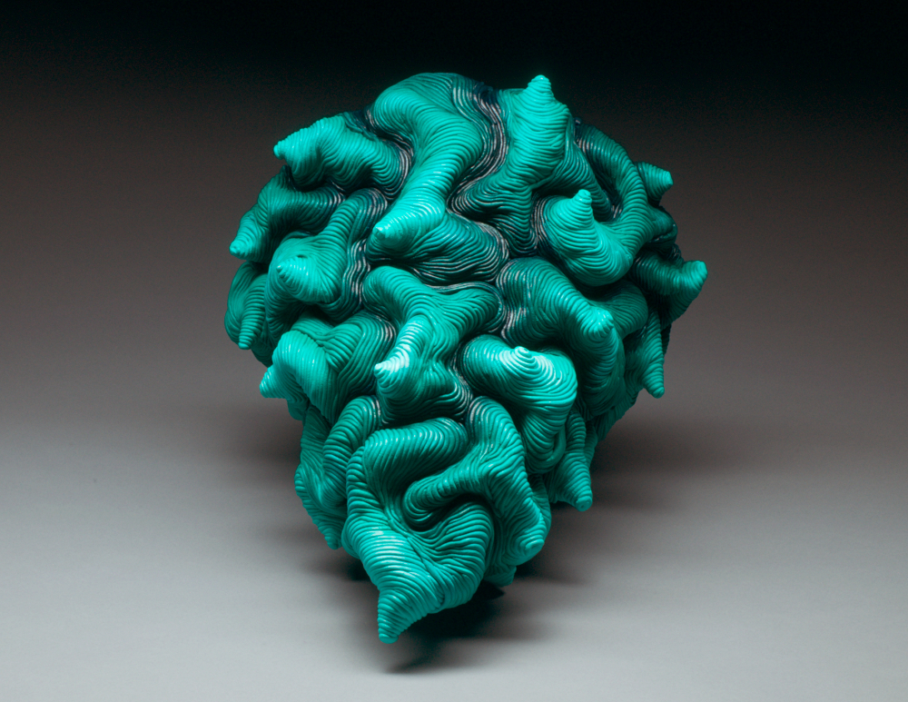 Green ceramic sculpture coil built clay erik hubert gellert Eric art 3-d printed 3d print robot handmade