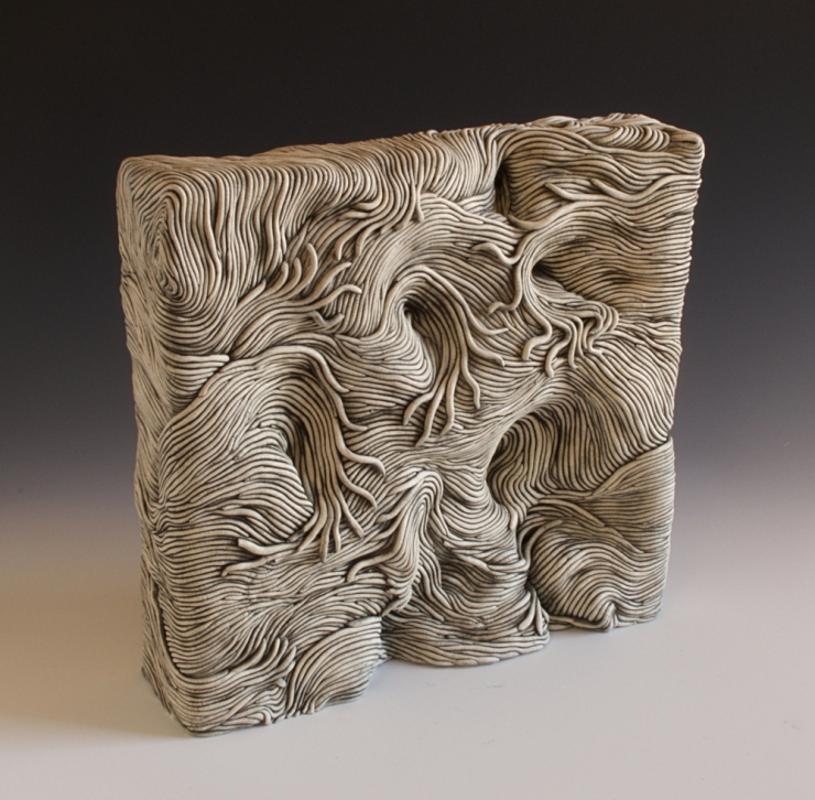 Clay, ceramic, Erik, Gellert, Erik Gellert, square, mason stain, coil ceramic, coils, clay, sculpture, contemporary craft.