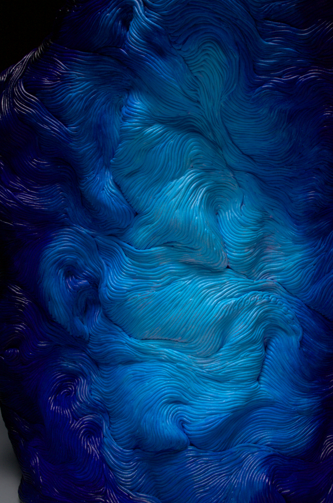 Blue acrylic coil built ceramic clay sculpture made by Erik Hubert Gellert