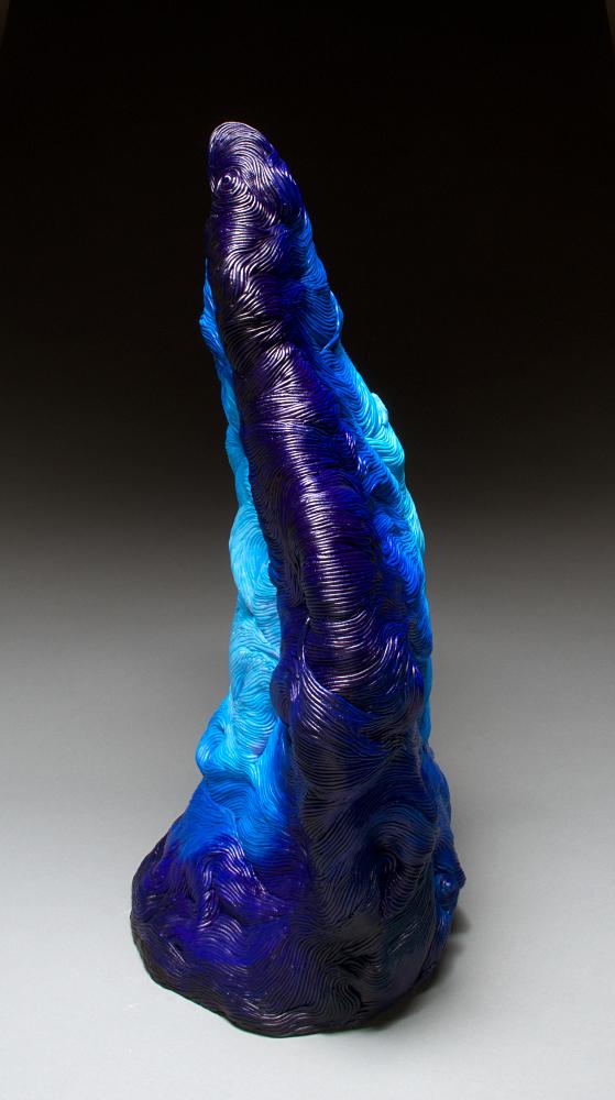 Blue acrylic coil built ceramic clay sculpture made by Erik Hubert Gellert Eric art 3-d printed 3d print robot handmade